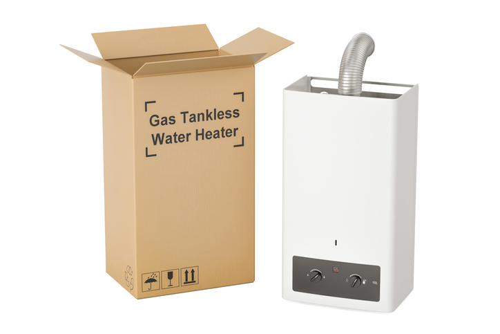 tankless water heater with box