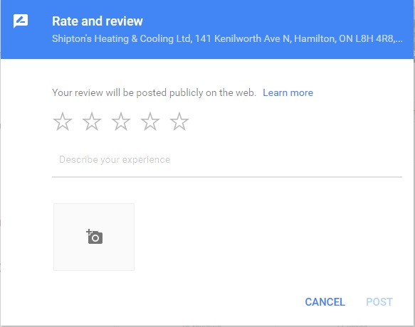 Google review pop up